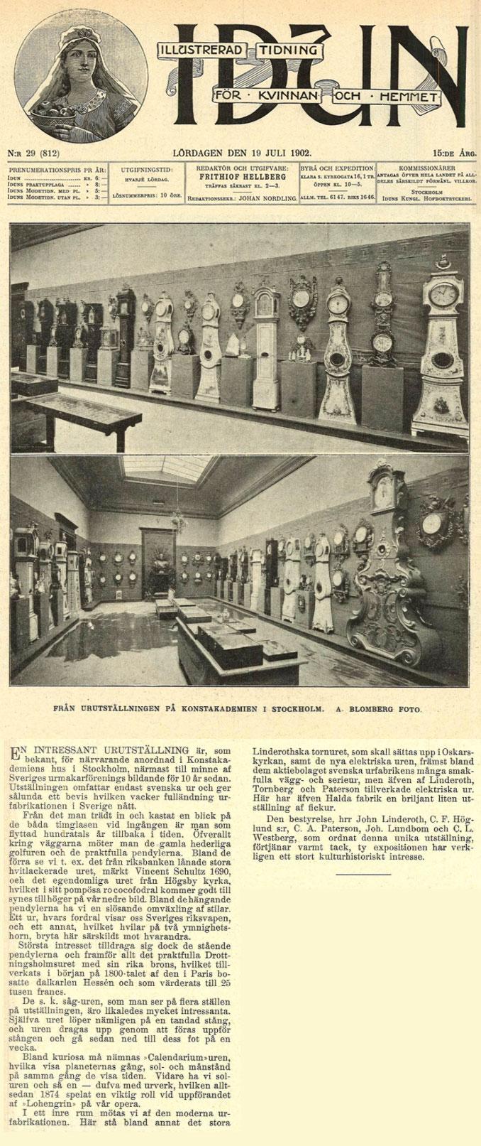 Ur-utställningen var också omskriven i tidskriften Idun, den 19 juli 1902.